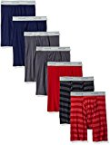 Fruit of the Loom Men's Boxer Brief (Pack of 7), Assorted-Blues, Grays, Reds, Medium