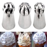 3pcs Russian Stainless Steel Tips Tulip Sphere Whip Cream Buttercream Icing Piping Nozzles DIY Baking Tools Small Torch for Decoration Cupcake Fondant Cake Pastry