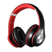 Mpow On-Ear Bluetooth Headphones with Noise Cancelling Stereo, Foldable Headband, Ergonomic Designed Soft Earmuffs, Built-in Mic, 13 Hours Playback Time for PC, Laptops and Smartphones (Red)