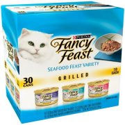 Fancy Feast Grill Seafood Feast Variety Wet Cat Food, 3 Oz, 30 Pk