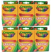 Crayola 24 Count Box of Crayons Non-Toxic Color Coloring School Supplies (6 Packs)