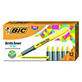 BIC Brite Liner Grip Highlighter, Chisel Tip, Yellow, 12-Count