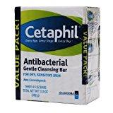 Cetaphil Antibacterial Gentle Cleansing Bar, Value Pack 3 ea (Pack of 2)