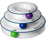 Amazing Cat Roller Toy By Easyology Pets: Super Fun 3-Level Tower Ball & Track Toy Endless Interactive Play & Mental Physical Exercise For Kittens Heavy Duty Lightweight Construction (White)