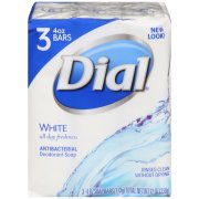 Dial Antibacterial Deodorant Bar Soap, White, 4 Ounce Bars, 3 Count