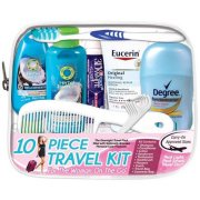 Travel Personal Care Kit for Woman On The Go 10 Piece, TSA Approved
