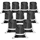 Drawstring Backpack Bags Reflective 10 Pack, Promotional Sport Gym Sack Cinch Bag (Black)