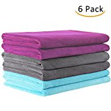 "JML Bath Towel, Microfiber 6 Pack Towel Sets (27 x 55"") - Extra Absorbent, Fast Drying & Antibacterial, Multipurpose Use as Bath Fitness Towel, Sports Towels, Yoga Towel, Light Blue Grey Burgundy"