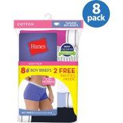 Hanes Cotton Sporty Boyshort Panties, 6+2 Bonus Pack