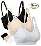 3 Pack Nursing Bra for Breastfeeding Women Maternity Bralette Wireless Sleeping Bras(Black/Beige/White,M)