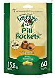 GREENIES PILL POCKETS Soft Dog Treats, Chicken, Capsule 15.8-oz. 60-count pack of GREENIES PILL POCKETS Treats for Dogs Chicken, #1 vet-recommended choice for giving pills