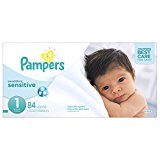 Pampers Swaddlers Sensitive Disposable Diapers Newborn Size 1 (8-14 lb), 84 Count, SUPER