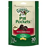 GREENIES PILL POCKETS Soft Dog Treats, Hickory Smoke, Capsule one (1) 7.9-oz. 30-count pack of GREENIES PILL POCKETS Treats for Dogs  #1 vet-recommended choice for giving pills
