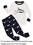Family Feeling Shark Big Boys Long Sleeve Pajamas Sets 100% Cotton Pyjamas Kids PJS Size 8 White