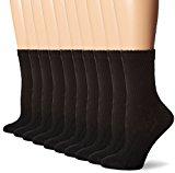 Hanes Women's Crew Sock, Black, 9-11(Shoe 5-9) (Pack of 10)