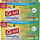 Glad ForceFlex OdorShield Tall Kitchen Drawstring Trash Bags - Gain Original and Febreze Freshness - 13 Gallon - 34 Count - 2 Pack