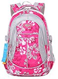JiaYou Kid Child Girl Flower Printed Backpack School Bag(Rose,Large)