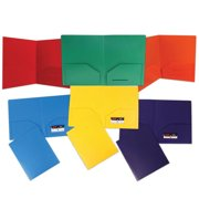 JAM Paper Plastic Heavy Duty Plastic 2 Pocket School Presentation Folders, Assorted Primary Colors, 6/pack