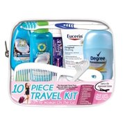 """Convenience Kits International, """"Woman On The Go"""" Deluxe 10 PC Travel Kit Featuring: Herbal Essences Shampoo and Conditioner plus Eucerin Original Healing Lotion"""