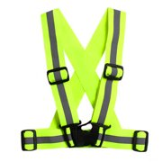 Unisex Adjustable Reflective Vest High Visibility Safety Straps for Jogging Cycling Walking Running Color:Fluorescent green