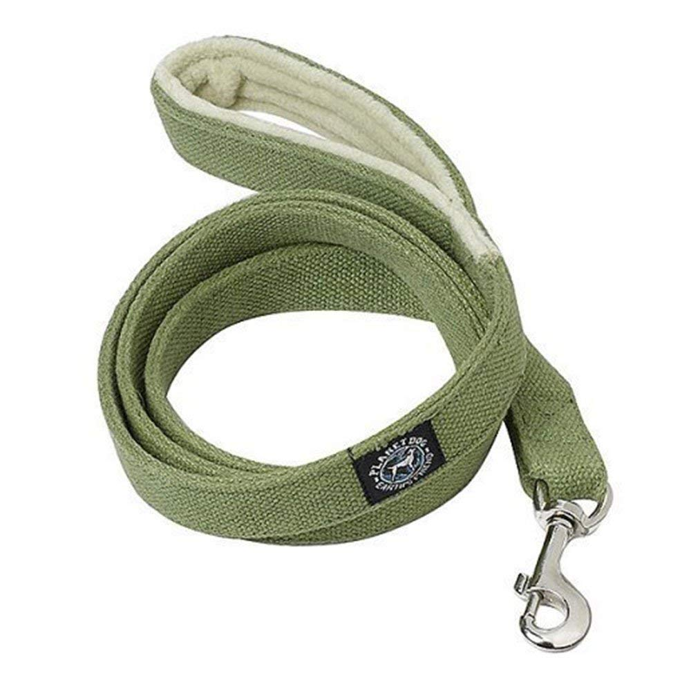 "Planet Dog Hemp Leash Fleece Handle, Hypoallergenic, Soft, Durable, 1""w x 5'l, For Medium to Large Dogs, Green"