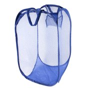 Unique Bargains Foldable Lingerie Delicates Bra Mesh Wash Bag Home Household Net Washing Laundry Basket Blue