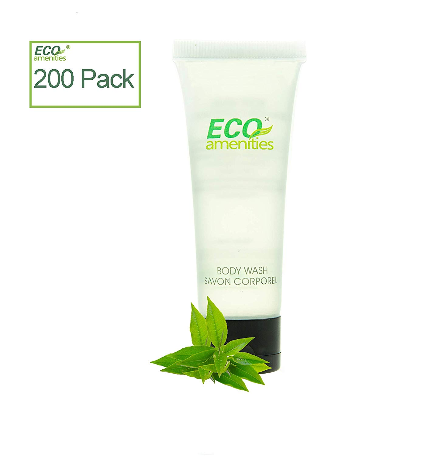 200 count ECO AMENITIES Travel size 1.1oz hotel body wash in bulk, Clear, Green Tea
