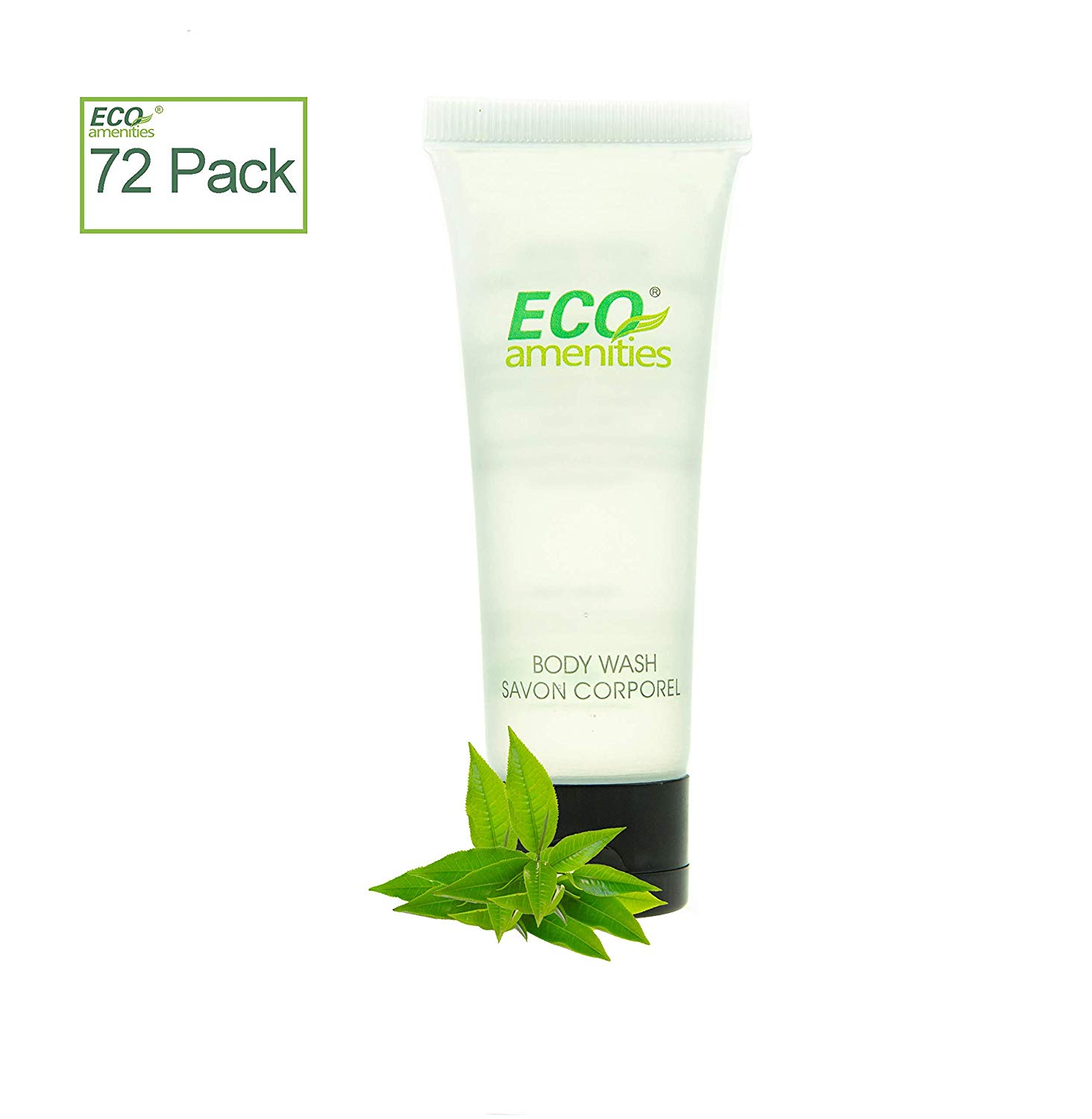 72 Tubes per Case, ECO AMENITIES Transparent Tube Flip Cap Individually Wrapped 30ml Shower Gel