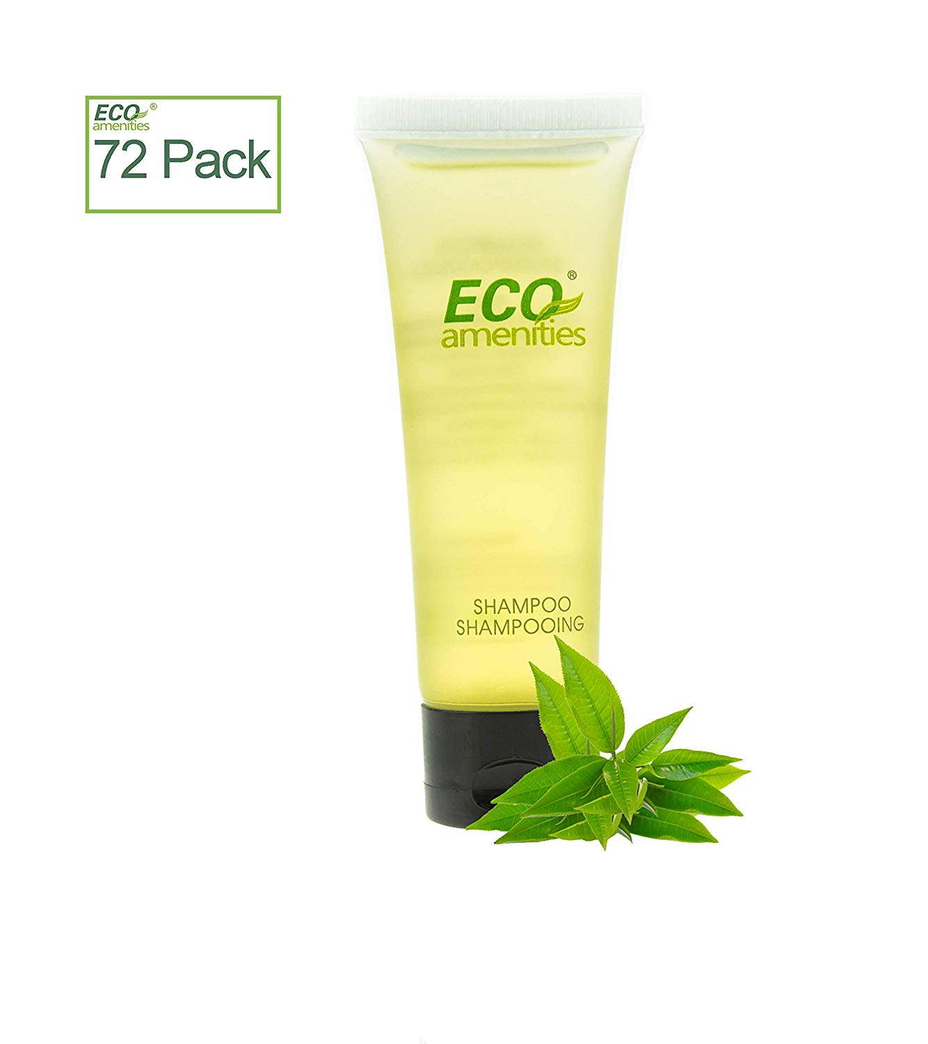72 ECO AMENITIES Transparent Tube Flip Cap Individually Wrapped 30ml Hotel Travel Shampoo, 72 Tubes per Case