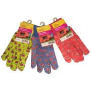 G & F 1823-3 JustForKids Soft Jersey Kids Garden Gloves, Kids Work Gloves, 3 Pairs Green/Red/Blue per Pack