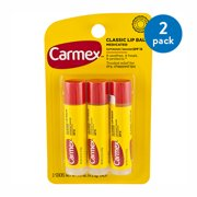 (2 Pack) Carmex Classic Lip Balm Medicated Sunscreen, SPF 15, .15 oz, 3 count