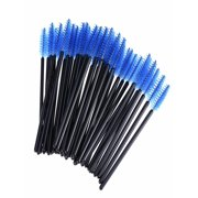 LUXUR 100pcs Blue Disposable Eyelash Mascara Brushes Wands Applicator Makeup Brush Eyelash Extension Spoolies Tool