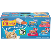 (32 Pack) Friskies Wet Cat Food Variety Pack, Fish-A-Licious Shreds, Prime Filets & Tasty Treasures, 5.5 oz. Cans
