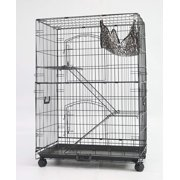 Homey Pet 3 Tier Foldable Cat Cage , Cat Home , Cat Crate House with Hammock , Metal , 30-in