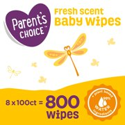 Parent's Choice Fresh Scent Baby Wipes, 8 packs of 100 (800 count)