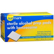 Sunmark Sterile Alcohol Prep Pads with Benzocaine, 100 Count