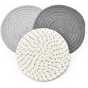 3 Pcs Cotton Thread Weave Hot Pot Holders, Multi-use Hot Mats Non-Slip Stylish Coasters Insulation Hot Pads Trivet for Cooking and Baking,Grey Set