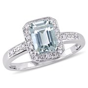 Tangelo 1 Carat T.G.W. Emerald-Cut Aquamarine and Diamond-Accent 10kt White Gold Halo Cocktail Ring