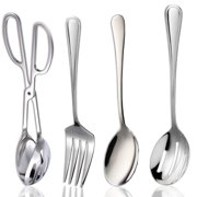 Serving Utensil Set of 4 - Includes Salad Kitchen Tongs 10?, Serving Spoon 9?, Slotted Spoons 11?, and Serving Fork 8.5?, Stainless-Steel Utensils, for Party, Buffet, Catering, Dinner, and Banquet.