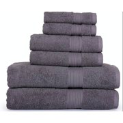 SPRINGFIELD LINEN 6 Piece Set Towels Grey Color 2 BATH TOWEL, 2 HAND TOWEL AND 2 WASHCLOTHS