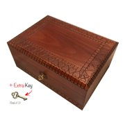 Extra Large Wooden Box with Lock and Key Polish Handmade Linden Wood Hearts Design Keepsake Jewelry Box Love Letters Box