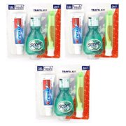 Dr Fresh Dental Travel Kit Crest Toothpaste Scope Mouthwash Toothbrush w/ Case (3 packs)