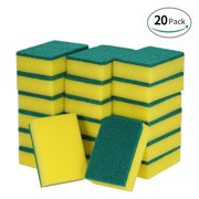 Esonmus 20pcs Multi-purpose Double-faced Sponge Scouring Pads Dish Washing Scrub Sponge Removing Cleaning Scrubber Brush for Kitchen Garage Bathroom