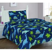 3PC TWIN SHEET SET DINO BLUE BEDDING SUPER SOFT COZZY FLEXIBLE CHARMING BABY KIDS GIRL BOY TODDLER NURSERY ROOM INCLUDES : 1 FLAT SHEET, 1 FITTED SHEET & PILLOW CASE