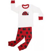 "Elowel Girls ""Ladybug"" 2 Piece Pajama Set 100% Cotton - Size 10"