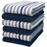"Premium Kitchen Towels (16""x 26"", 6 Pack) – Large Cotton Kitchen Hand Towels – Popcorn Striped Design – 430 GSM Highly Absorbent Tea Towels Set With Hanging Loop – Blue"