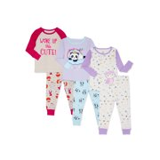Wonder Nation Baby Toddler Girl Long Sleeve Snug Fit Cotton Pajamas, 6-Piece Set