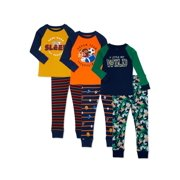 Wonder Nation Baby Boys & Toddler Boys Snug Fit Cotton Long Sleeve Pajamas, 6-Piece PJ Set (12M-5T)