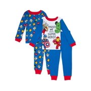 Marvel Super Hero Adventures Toddler Boy Long Sleeve Snug Fit Cotton Pajamas, 4pc Set