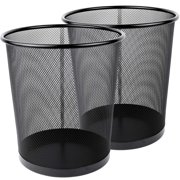 Greenco Mesh Wastebasket Trash Can, 4.5 Gallon, Black, 2 Pack